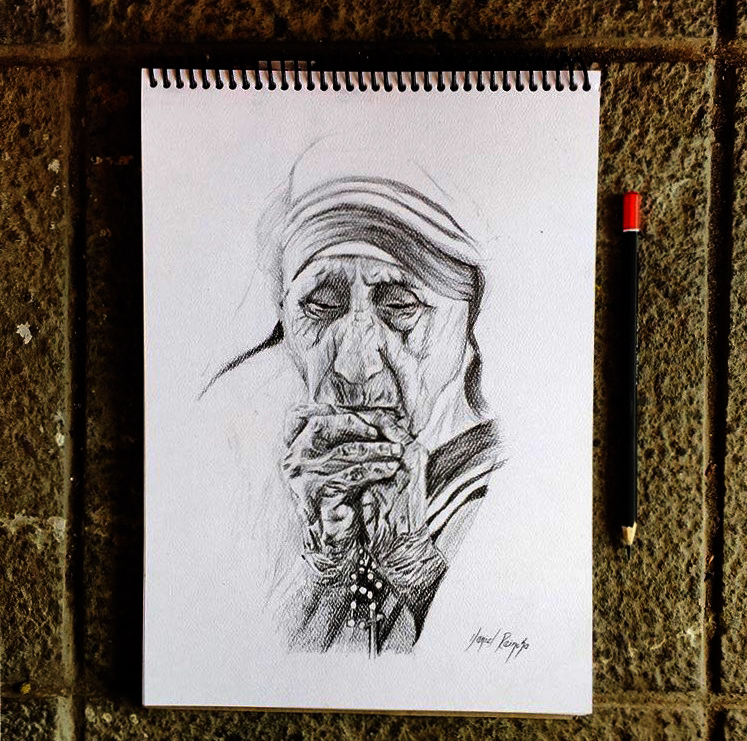 Madre Teresa / Carboncillo / A5